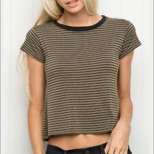 Brandy Melville Olive Green Black Striped Soft Stretchy Kolfinna Shirt Top Nwt
