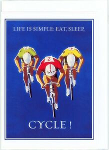 'Eat Sleep CYCLE'. Hand made greeting card. Blank inside for all occasions.