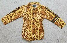 Coogi Toddler Girls 3T Leopard Print Button Up Top Shirt Yellow Brown NWOT