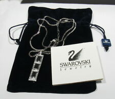 """Authentic Signed Swarovski 2 Sided Large 3 Crystal Pendant Necklace 25"""" to 27"""""""