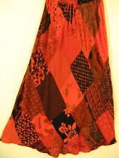 912SK~TIENDA HO~Red Orange~A-Line Skirt~Hippy Rayon~Diamond Patchwork~BOHO~OS