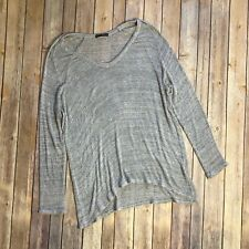 Brandy Melville Pullover Thin Knit Sweater Tunic Top One Size V-Neck Grey Italy