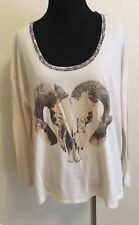 ABS By Allen Schwartz Sz S Bone Color Ram Skull Long Sleeve Tee NEW L3