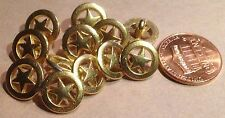 "12 Small Pierced Shiny Gold Tone Metal Buttons Star 7/16"" 11mm # 7428"