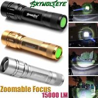 T6 Tactical LED Flashlight Torch 50000LM Zoomable 3-Mode for 18650 NEW