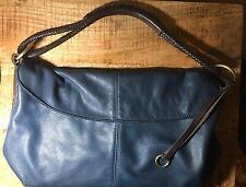 Henri Lou Purse Navy Blue Hobo Purse With Braided Leather Strap Bag