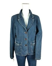 Sonoma Jeans Womens 3 Button Stretch Denim Jean Jacket Blazer L Pockets