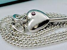 "Tiffany & Co. Pink Sapphire Silver Heart Key Pendant Bead Necklace 17.25"" L Box"