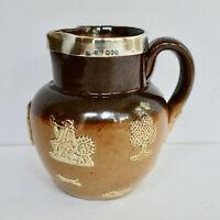 Royal Doulton Lambeth Jug Pitcher Sterling Silver Rim Stoneware Antique 1900's