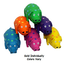 """Large Dog Toys Globets Polka Dot Pigs Latex Honking Squeakers 9"""" Colors Vary"""