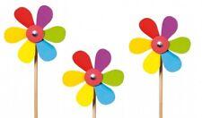 Windmühle Blume, bunte Windräder aus Holz, 3 Stück