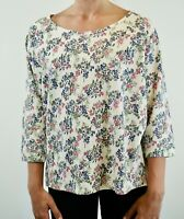 New Fat Face Ivory White with Lilac & Pink Floral Cotton Jersey Top RRP £35