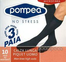 Nero 43/46 Pompea microfibra Calze al ginocchio Uomo ( 0071) (taglia (xlb)