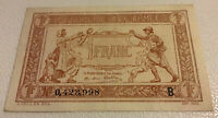France Banknote. Tresorerie aux Armees. 1 Franc. Dated 1917.