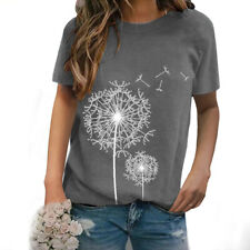 Women Summer Crew Neck Short Sleeve T Shirt Casual Floral Print Blouse Loose Top