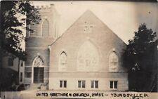 D68/ Youngsville Pennsylvania Pa Postcard 1914 RPPC Photo United Brethren Church