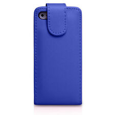 BLUE Plain Leather Flip Case Cover with Card Slots&clip for Apple iPhone 4/4S