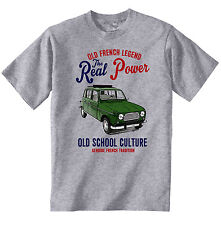 VINTAGE FRENCH CAR RENAULT 4L OPEN ROOF - NEW COTTON T-SHIRT
