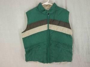 VTG Down Vest Mens Large Puffer Green Khaki Lining Anderson Little Unisex