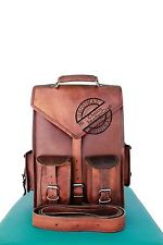 "15"" Mens Vintage Leather Laptop Backpack Shoulder Messenger Bag Rucksack Sling"
