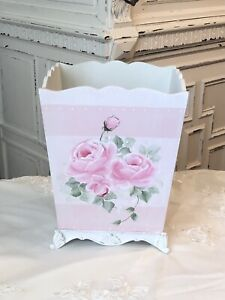 HP ROSES Pink Blush Shabby Cottage Painted Roses Waste Basket Container