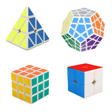 4 Pack Cube Set 2x2 3x3 Pyramid Megaminx  Stickerless Puzzle Smooth Twist Toy