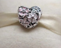 Genuine Pandora Sterling Silver ALE S925 Poetic Blooms Heart Charm & Free Pouch