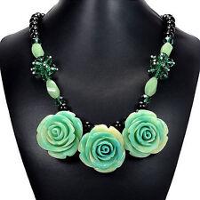 Turquoise Rose, Aventurine & Emerald Green Crystal Bib Necklace Handmade Jewelry