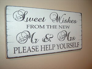 Wedding Rustic Sweet Table Sign Sweet Wishes Mr & Mrs Candy Bar Candy Cart Sign