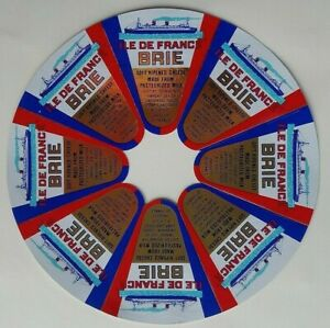 FRANCE 1950s CIRCULAR BRIE CHEESE LABELS CELEBRATING THE PAQUEBOT ILE DE FRANCE