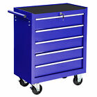 Carrello portautensili porta attrezzi officina arebos 5 cassetti con ruote blu
