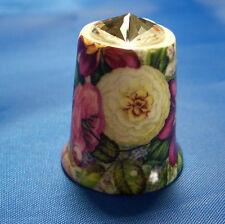 Birchcroft China Thimble - Autumn Floral with Swarovski Crystal -- Free Dome Box