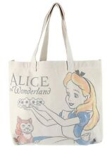 Disney Alice In Wonderland Cat Tea Cups Canvas Beach Hobo Bag Purse Tote NWT!