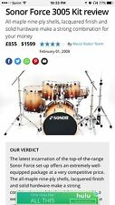 Sonor Force 3005 Maple-Natural Finish 12/13/16/22/14 snare