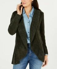 Style&co. Open Front Long Sleeve Chenille Sweater Dark Ivy PL # 39