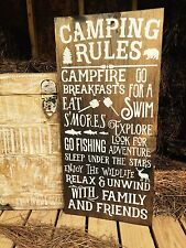 """Large Rustic Wood Sign - """"Camping rules..."""" Cabin, Mountain Decor, Fishing"""