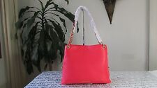 NWT Michael Kors Leather Jet Set Chain Item Large Chain Conv Shoulder Coral Reef