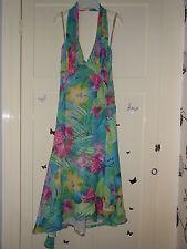 Karen Millen tropical flower silk halterneck dress size 8