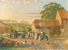 Ferguson Fergie Tractor Farm Scene 1960s Birthday Card