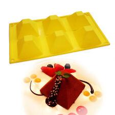 6-Cavity Pyramid Silicone Mold Cake Chocolate Muffin Ice Cream Soap Wax Pan