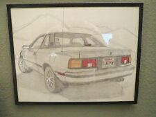 1986 TOYOTA CELICA GTS  Original Pencil Drawing by GHW in 1985  Framed