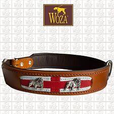 Premium Dog Collar English Bulldog WOZA full Leather Padded Genuine Cow Napa HE3