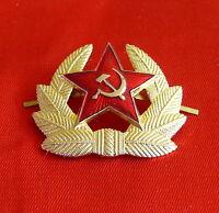 Authentic Hat Cap badge Cockade Soviet USSR Red Star Sickle and Hammer Communism