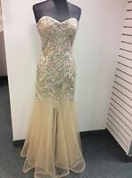 Clarisse Prom Dress Party  Evening  Long Formal   Beaded Color BeigePink  Size 8