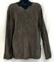 J. Jill V Neck Sweater Sherpa Shale Brown Long Sleeve Shirt Button Fuzzy Size XL