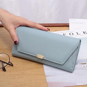Women Long Fashion Lychee Pattern Buckle Tri-fold Envelope Mobile Blue Wallets