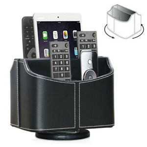 Leather Remote Control Holder 360 Degree Spinning Desk TV Remote Caddy/Box