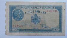 Billet Banknote Bill 5000 Lei  Roumanie Romaniei1945 WW2...... rare !