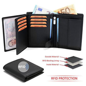 Portafogli Uomo Nuovo Nero Vera Pelle e Protezione Furto RFID NFC Anti Borseggio