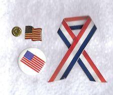 3 Assorted Patriotic 2 Pins & 1 Ribbon